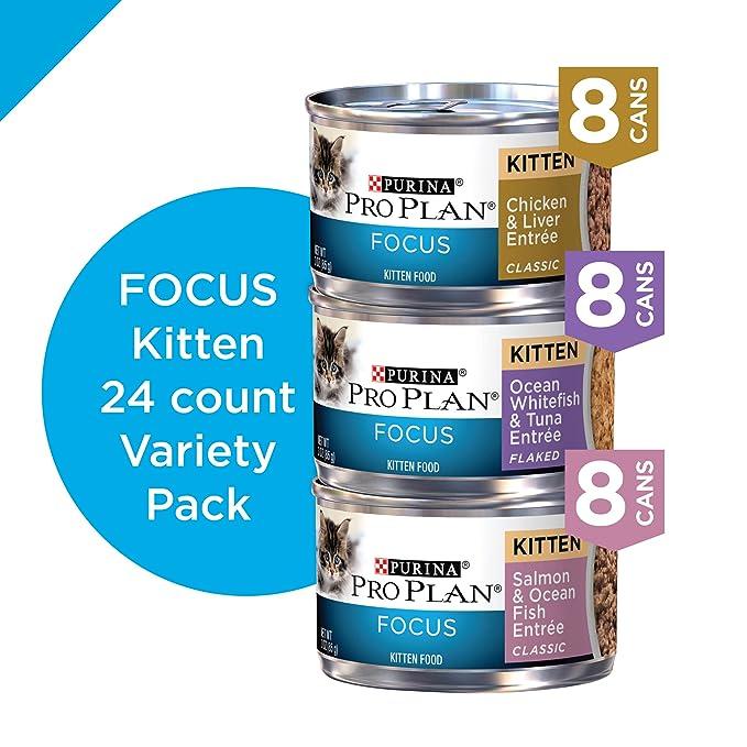 Amazon.com : Purina Pro Plan Focus Kitten Favorites Wet Kitten Food Variety Pack - (24) 3 oz. Cans : Pet Supplies