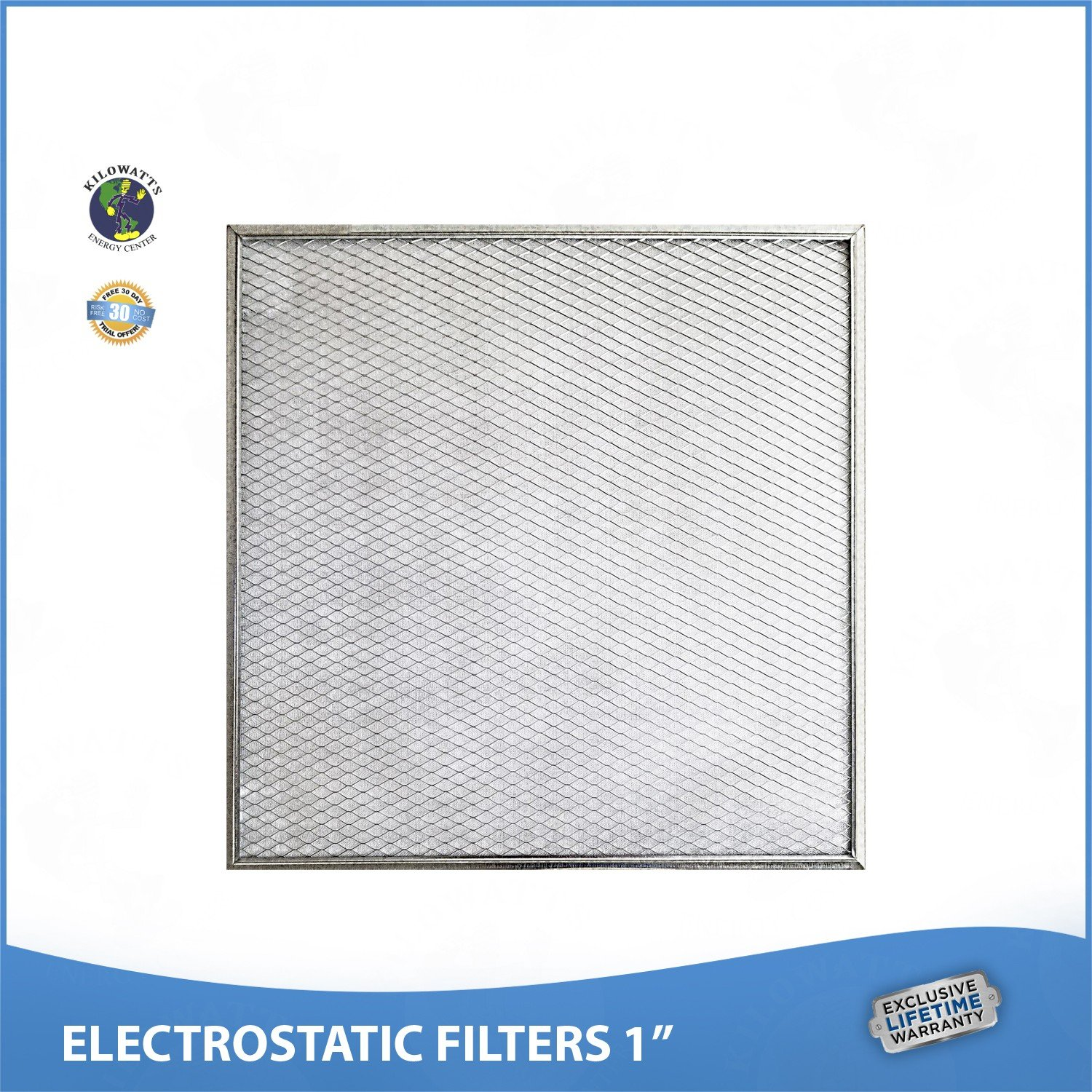23- 1/8 x 19- 3/8 x 1 Lifetime Air Filter - Electrostatic Washable Permanent A/C Silver Steel Frame 65% more efficiency by Kilowatts Energy Center