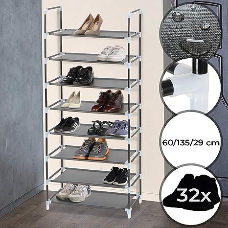 MIADOMODO Schuhregal L, 8 Ebenen für 32 Paar Schuhe aus Stahl und Stoff Schuhablage, Stoffregal, Stoffregal, Schuhständer, Schuhschrank