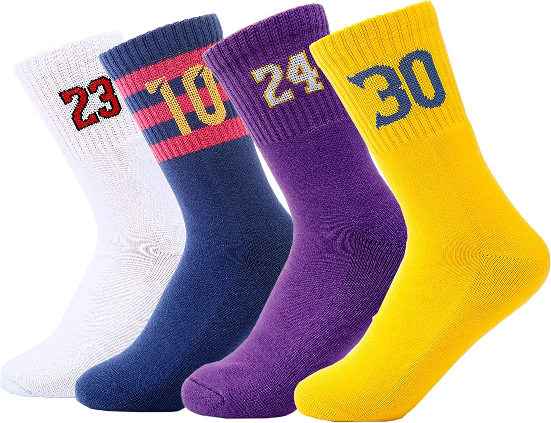 Youth Boys Girls Basketball Sport Sock, Premium Cotton Cushion Crew Sock-4 Pairs: Clothing
