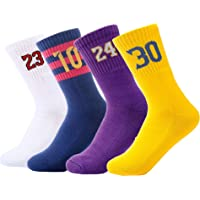 Youth Boys Girls Basketball Sport Sock, Premium Cotton Cushion Crew Sock-4 Pairs