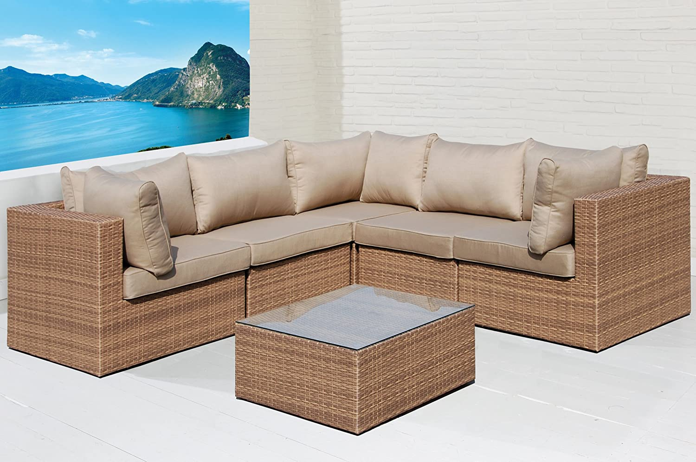 Sofa Lounge Set 6 tlg. Gartensitzgruppe braun Outdoor Sitzgruppe Poly Rattan