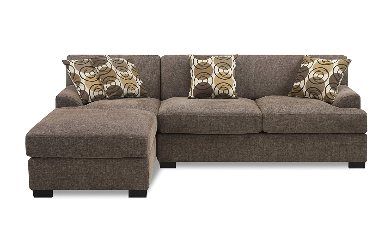Amazon.com Bobkona Poundex Benford Collection Faux Linen Chaise Sofa 2- Piece Slate Kitchen u0026 Dining  sc 1 st  Amazon.com : two piece sectional couch - Sectionals, Sofas & Couches