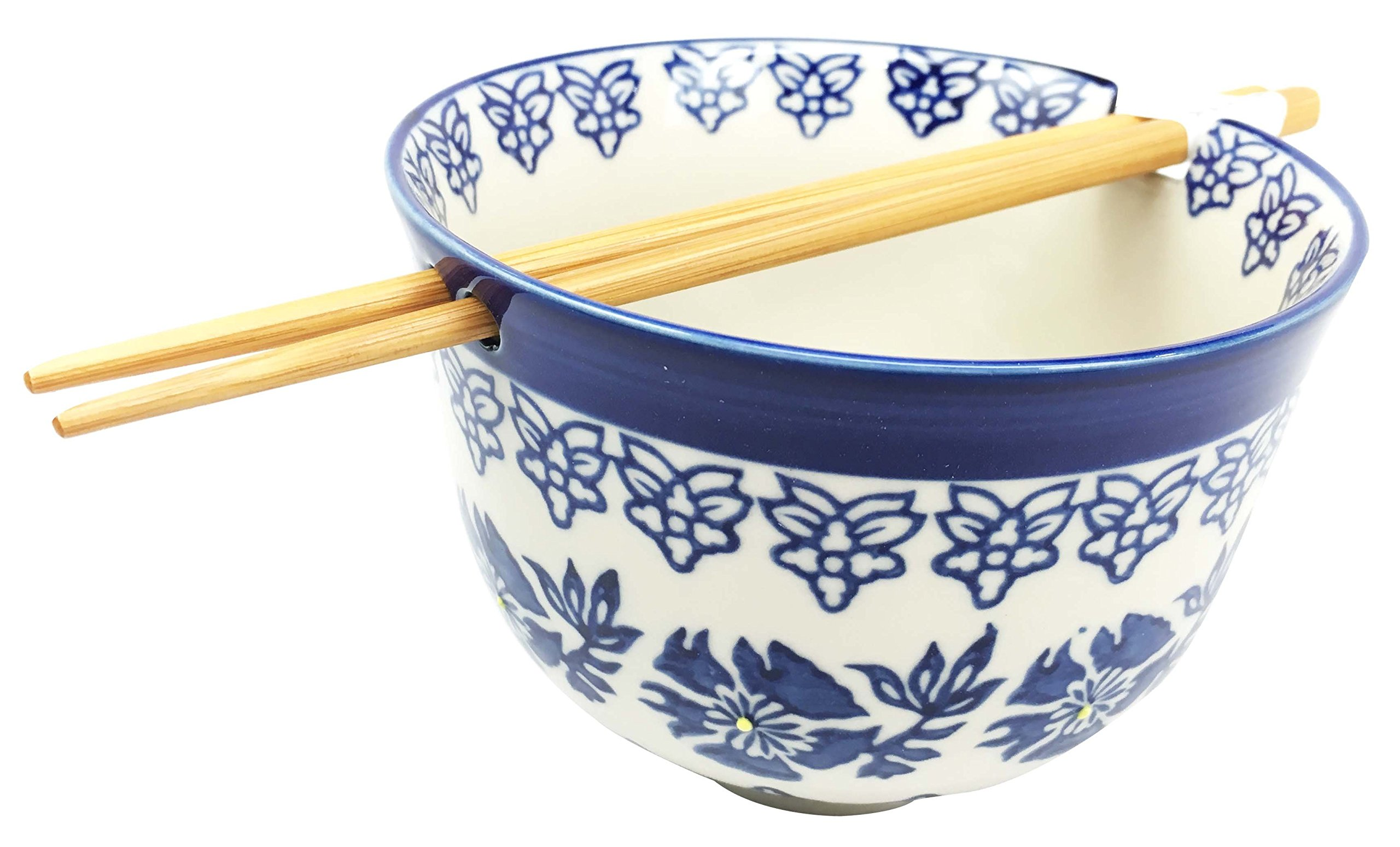 Japanese Design Blue Unison Symmetry Pattern Ceramic Ramen Udong Noodle Soup Bowl and Chopsticks Set Great Gift For College Students Housewarming Ramen Lovers Asian Living Home Decor
