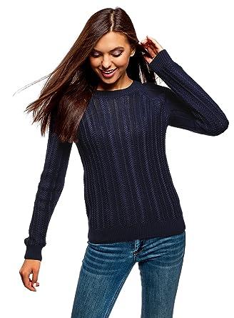 oodji Ultra Damen Pullover mit Strickmuster und Raglan-Ärmeln ...