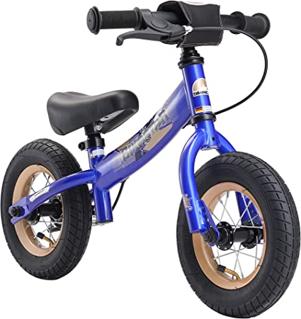 BIKESTAR Original Safety Lightweight Kids First Balance Running Bike with Brakes and with air Tires for Age 2 Year Old Boys and Girls Adventurous Blue 10 Inch Sport Edition