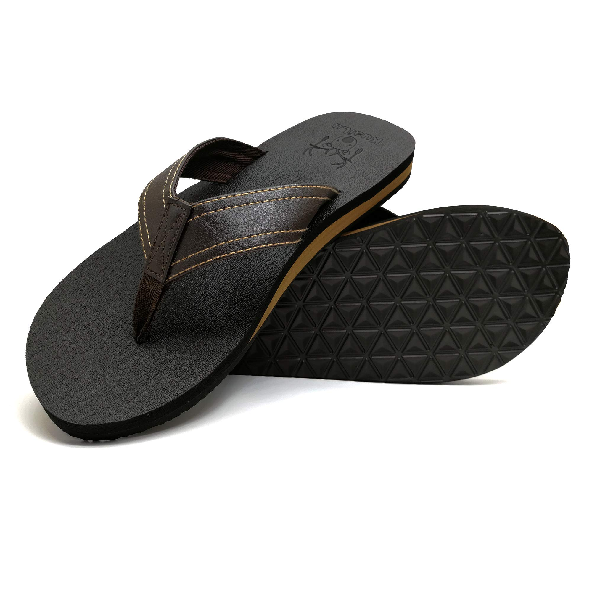 f3fec6a8034e Galleon - KuaiLu Men s Yoga Mat Leather Flip Flops Thong Sandals Arch  Support