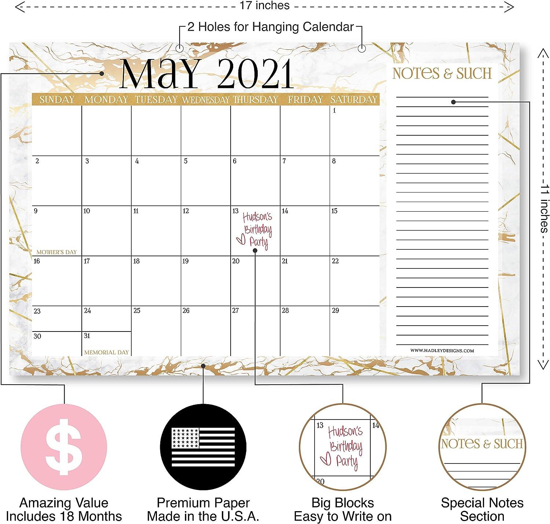Family or Business Office 11x17 White Notes Section for Teacher Large Monthly Wall Planner 18 Month Academic Desktop Calendar or Fridge Planning Blotter Pad Gold Marble 2021-2022 Desk Calendar