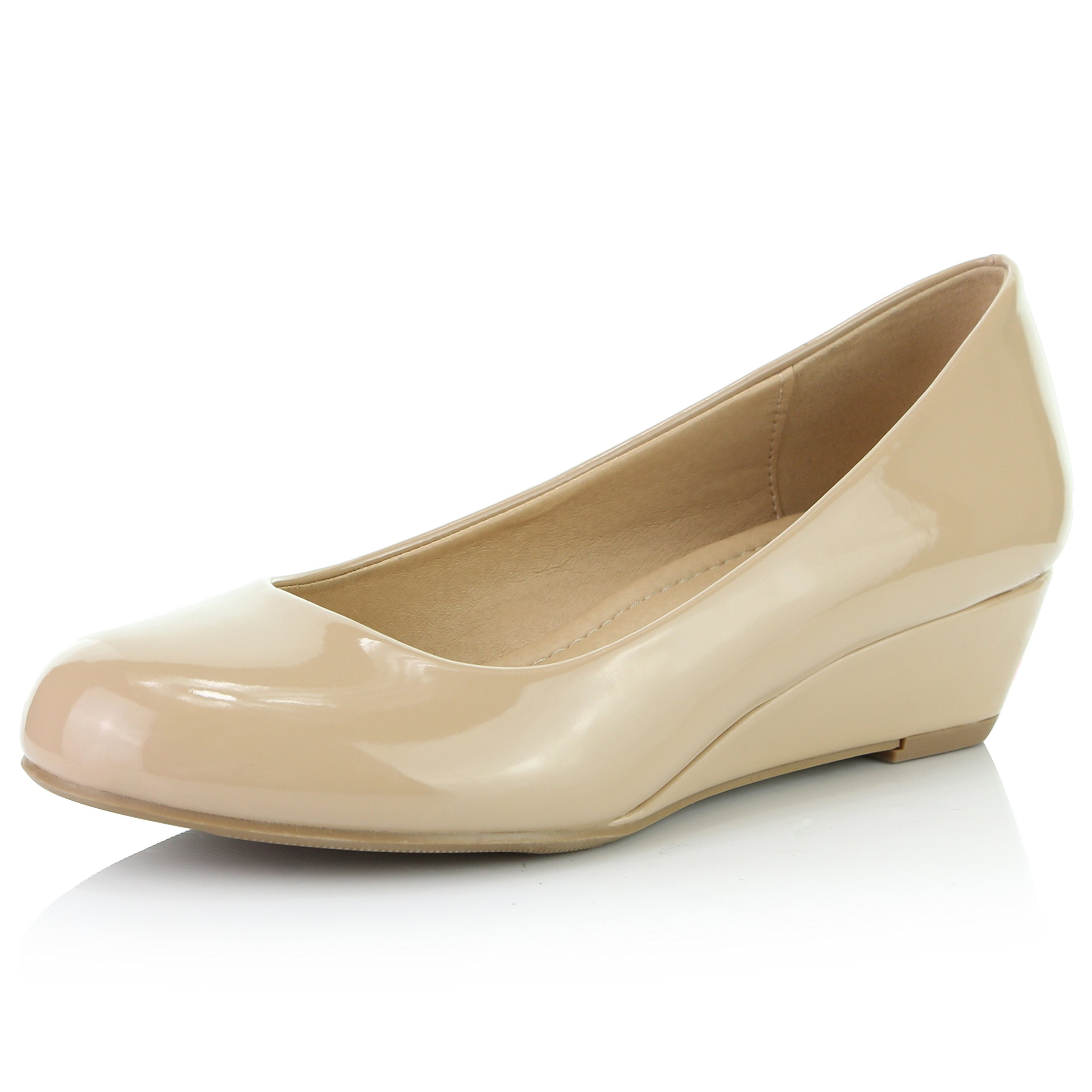 DailyShoes Women's Comfortable Fashion Low Heels Round Toe Wedge Pumps Shoes, Beige Patent Leather, 11 B(M) US