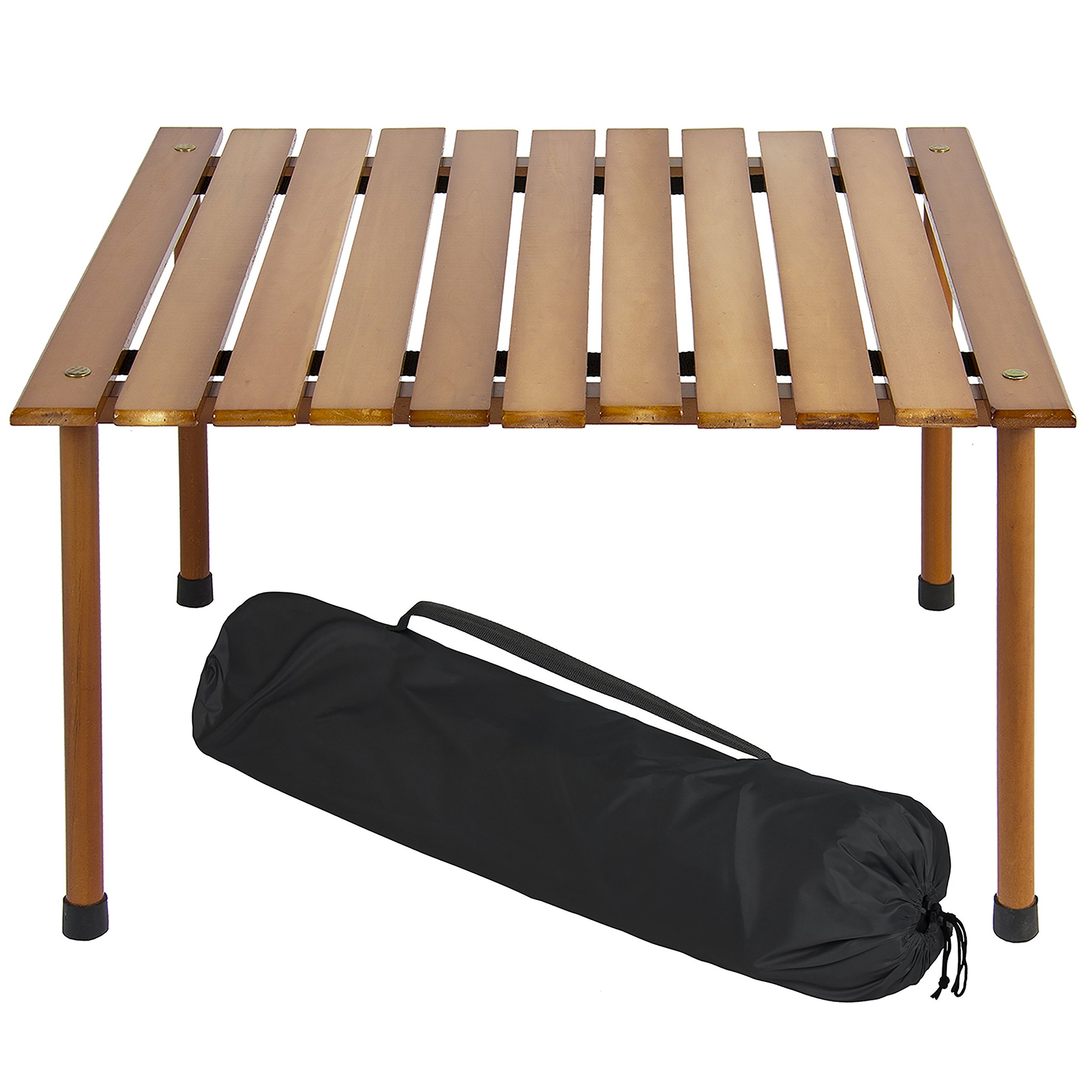 Best Choice Products Foldable Portable Wooden Table for Picnic, Camping, Beach, Patio Furniture with Carrying Case - Brown
