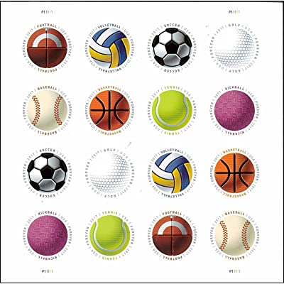 Have a Ball USPS Forever Stamps (1 Sheet of 16 Stamps) : Office Products
