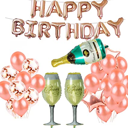 Birthday Decorations Party Supplies - Rose Gold Happy Birthday Foil Balloons Letters Banner Giant Champagne Bottle Goblet for Birthday Party ...