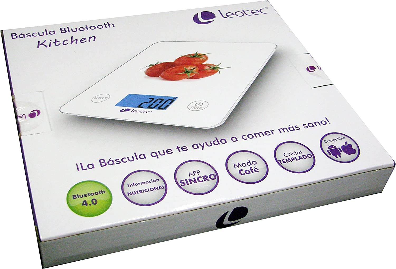 Leotec LEBBT04W Báscula de Cocina, Cristal, Blanco: Leotec: Amazon ...