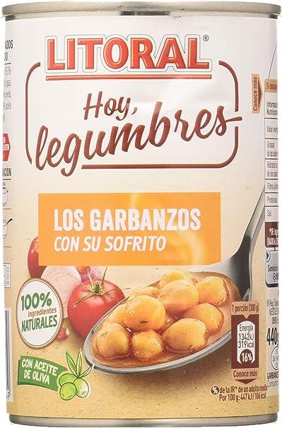LITORAL Hoy Legumbres Garbanzos con su sofrito - Plato Preparado Sin Gluten - Paquete de 15x440g - Total: 6.6kg: Amazon.es: Alimentación y bebidas