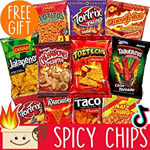 International Hot Chips Variety Pack + FREE Surprise! - Very Spicy Snacks Box Mix - Spicy Chips Variety Pack - Jalapeno Chips - Spicy Snacks Gift Box for Men - Munchies Flamin Hot Food - Exotic Stuff