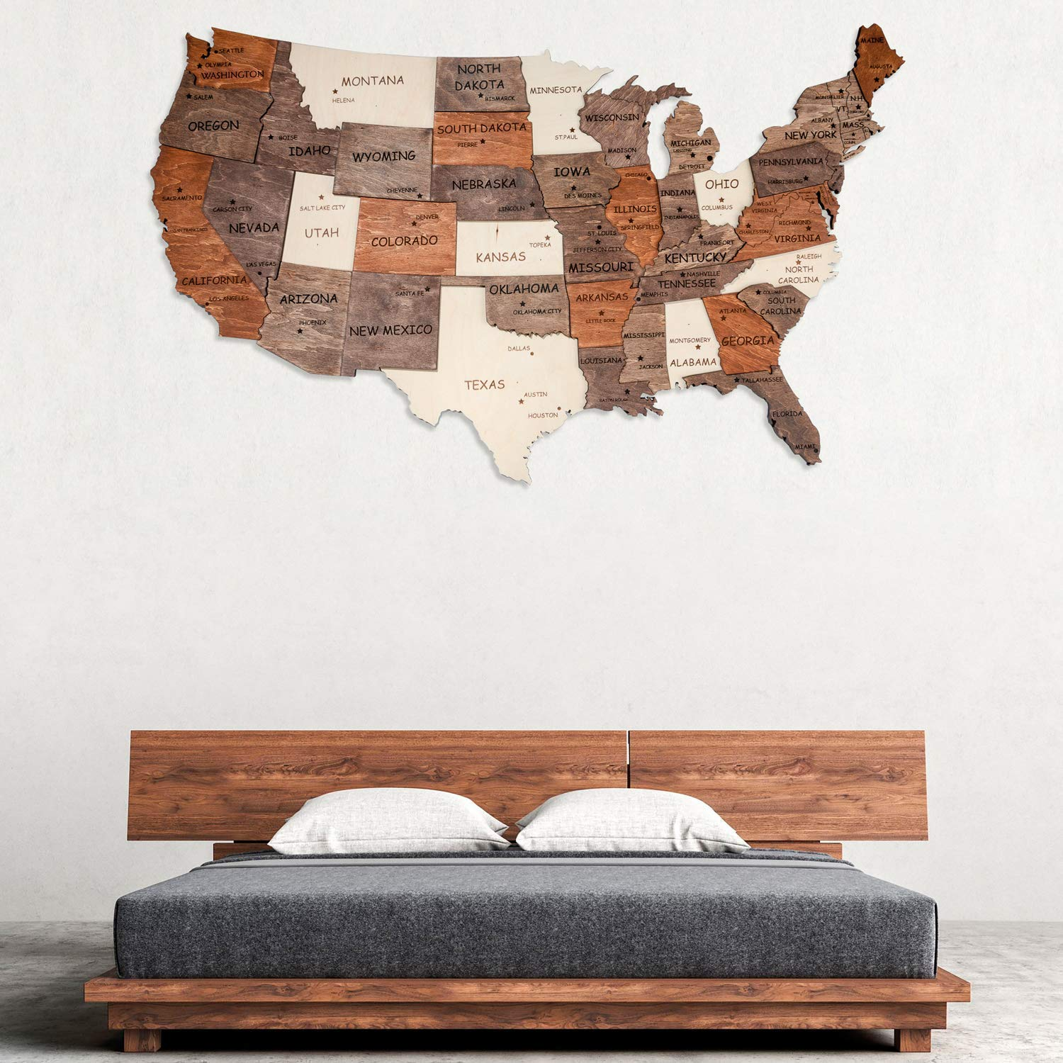 3D wood Map Of United States Wooden Wall Art Wooden Map Dorm Decor Map of USA Handing Husband Boyfriend Gift 3D Wall Map Wedding Gift For Couple