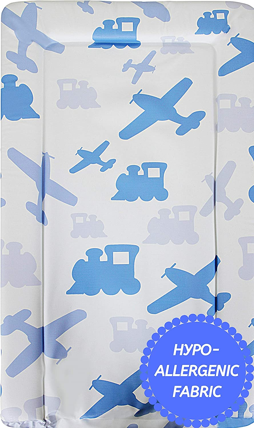 Babycurls Baby Changing Mat with Foam Raised Soft Edges for Babies from Birth Upwards Wipe Clean and Waterproof Nappy Change Pad 76 x 45cm Grey Bee