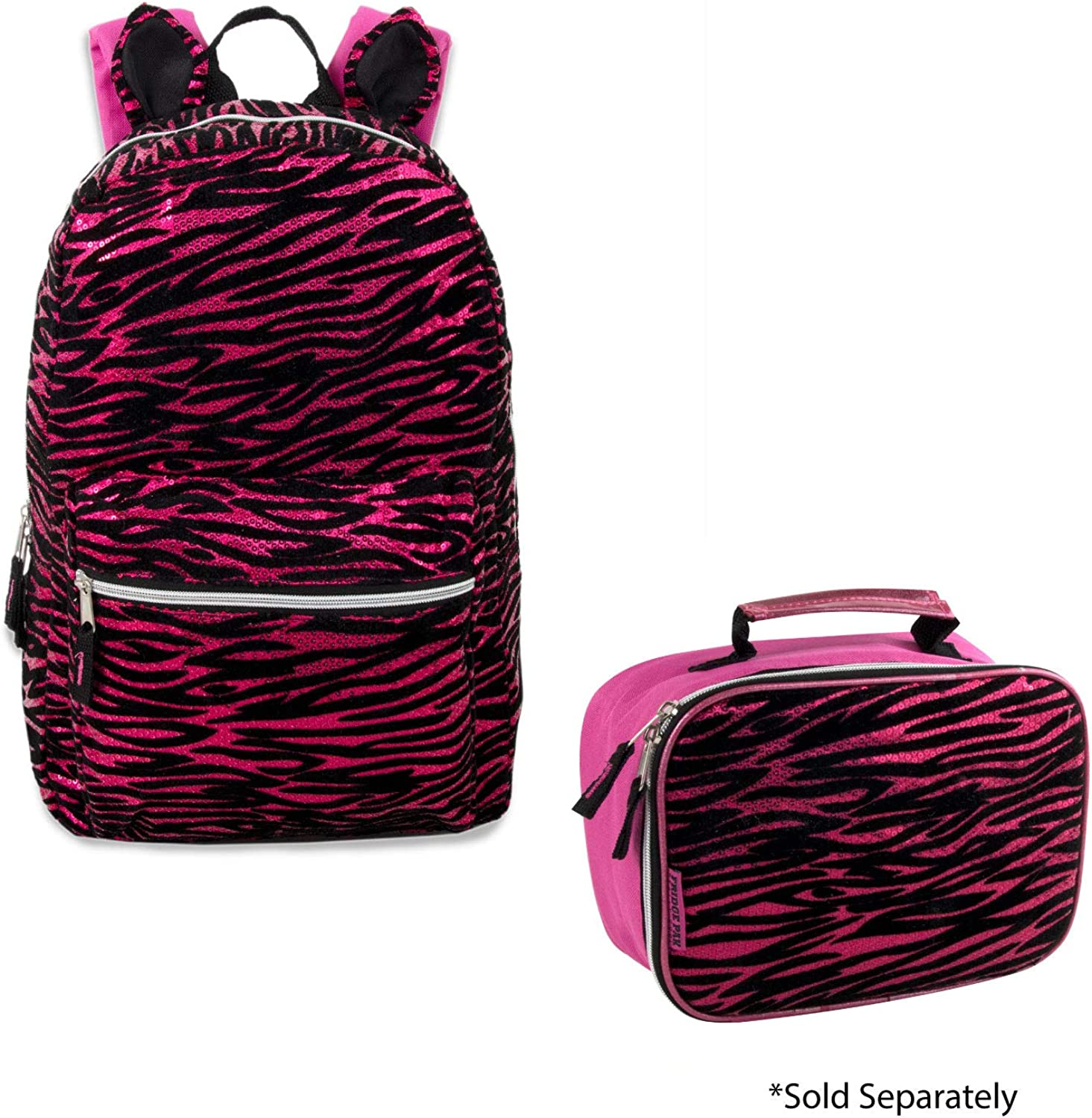 Cat Ear Animal Backpack with Ears Pink Sequin Zebra Backpack for Kids
