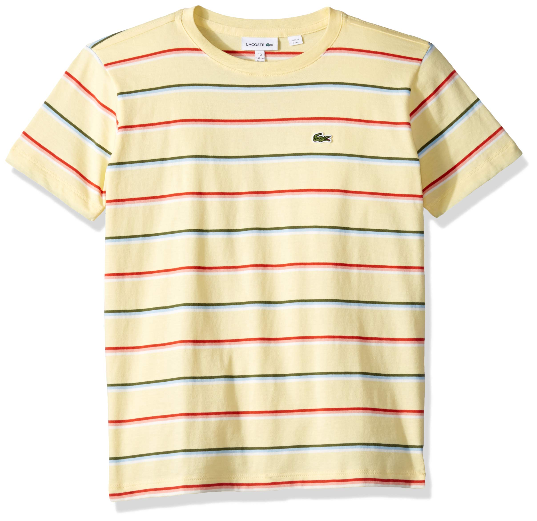 Lacoste Big BOY Summer Lover Striped T-Shirt, NAPOLITAN Yellow/Multi 10YR