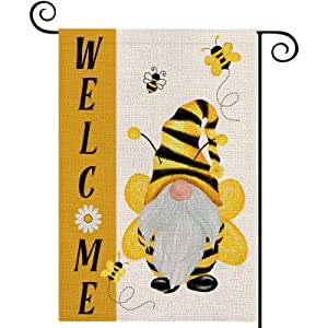LARMOY Summer Welcome Gnome Bees Garden Flags for Outdoor,12×18 Vertical Double Sided,Gnome with Bees Small Summer Yard Flags for All Seasons,Seasonal Decorative Rustic Farmhouse Outside Porch Decor