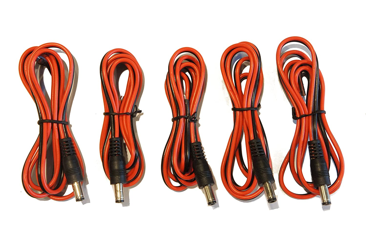 (5) Pack 36 in 2.1mm x 5.5mm DC male jack to open bare wire adapter cables