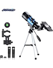 Aomekie Telescope for Kids Adults and Astronomy Beginners 70mm Refractor Telescope with Tripod Phone Adapter Finderscope 1.5X Erecting Eyepiece 3X Barlow Lens