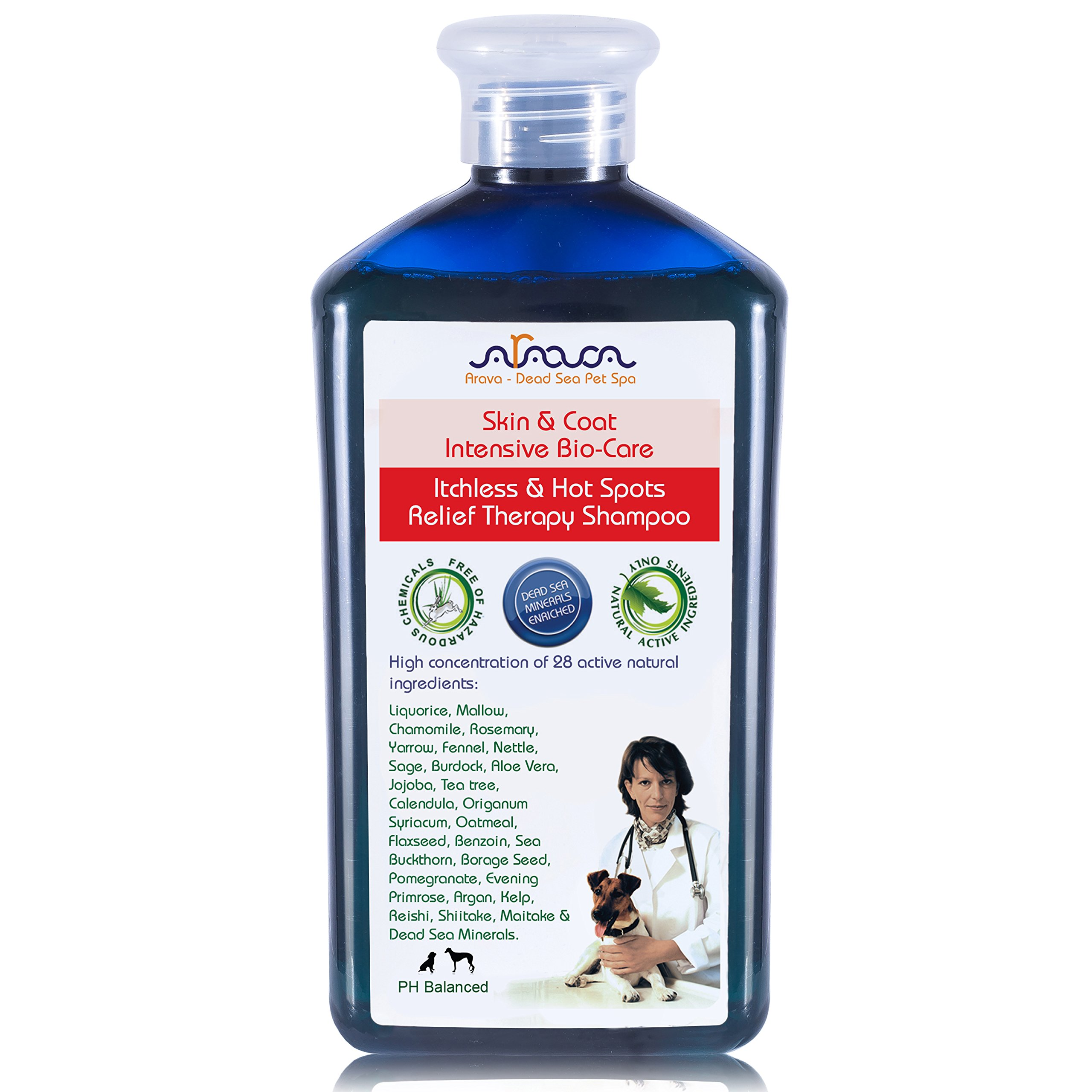 Arava Natural Medicated Dog Shampoo – Antibacterial Antifungal Anti Yeast Anti ITCH Dog Shampoo - Healthy Skin & Coat - First Aid in Hot Spots Ringworm Scrapes Abrasions & Dermatologic Infections