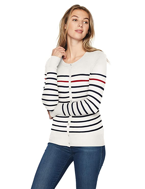 Amazon Essentials - Cardigan léger à col ras-du-cou pour femme, Blanc (White Stripe Wst), US L (EU L - XL)