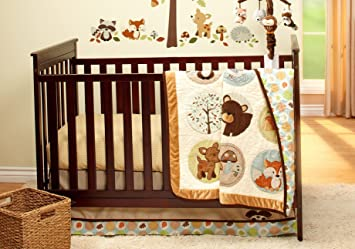 woodland friends collection 4 piece crib bedding set