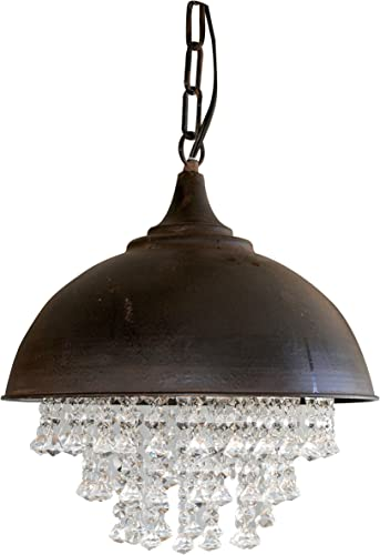 Creative Co-Op Metal Chandelier with Crystals, 13-1 4 Round by 15 Height
