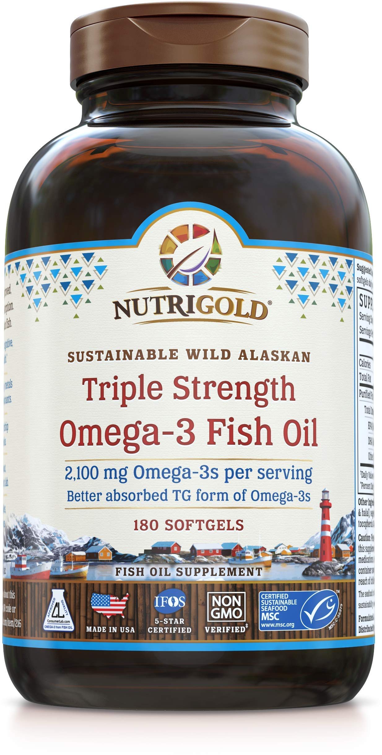 Triple Strength Omega-3 Fish Oil Supplement, Better Absorbed TG Form, Made in USA, 5-Star Certified, ConsumerLab Approved, Certified Sustainable by Nutrigold