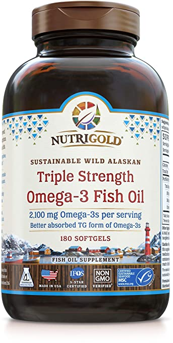 Nutrigold Triple Strength Omega-3 Fish Oil Supplement, 2100 Mg, 180 Softgels