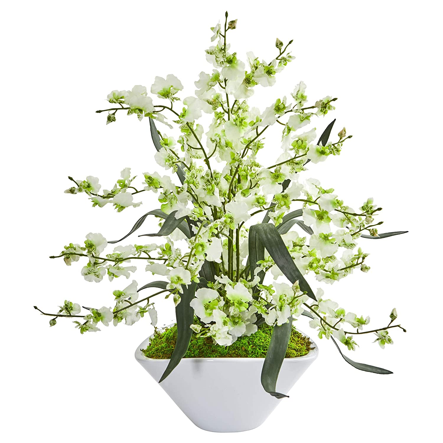 Nearly Natural 1736-GR Dancing Lady Orchid Artificial White Vase Silk Arrangements Green