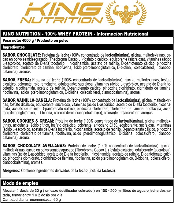 100% Whey Protein 4 kg King Nutrition Proteina Concetrada 80% Cookies and Cream