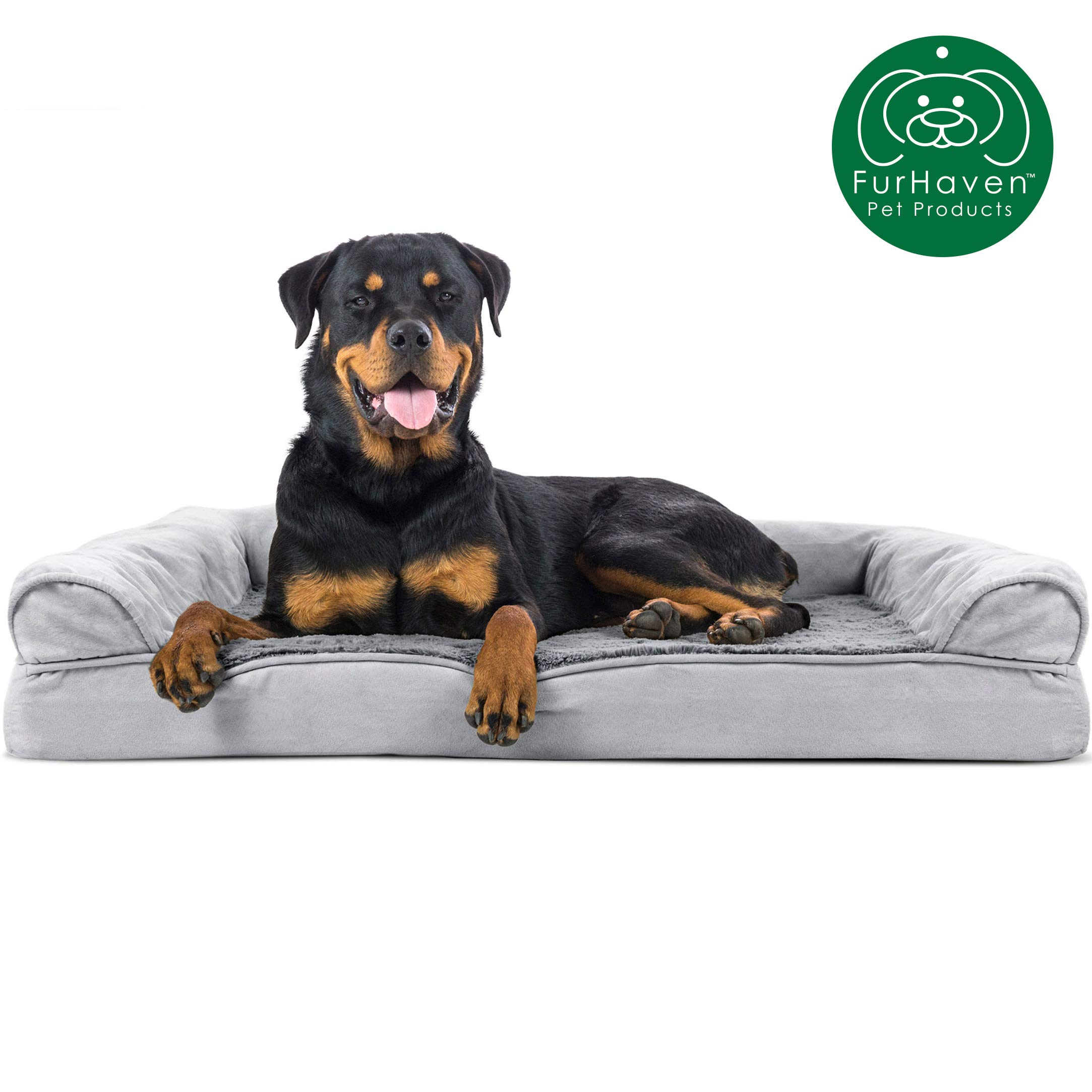 Furhaven Pet Dog Bed | Orthopedic Ultra Plush Faux Fur & Suede Traditional Sofa-Style Living Room Couch Pet Bed w/ Removable Cover for Dogs & Cats, Gray, Jumbo by Furhaven