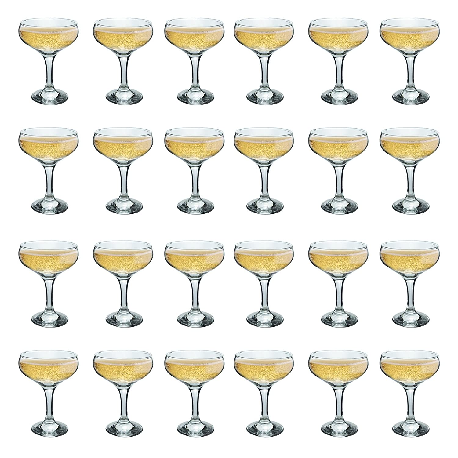Rink Drink Champagne Glasses Vintage Coupe Glass Saucer – 200ml – Pack of 24
