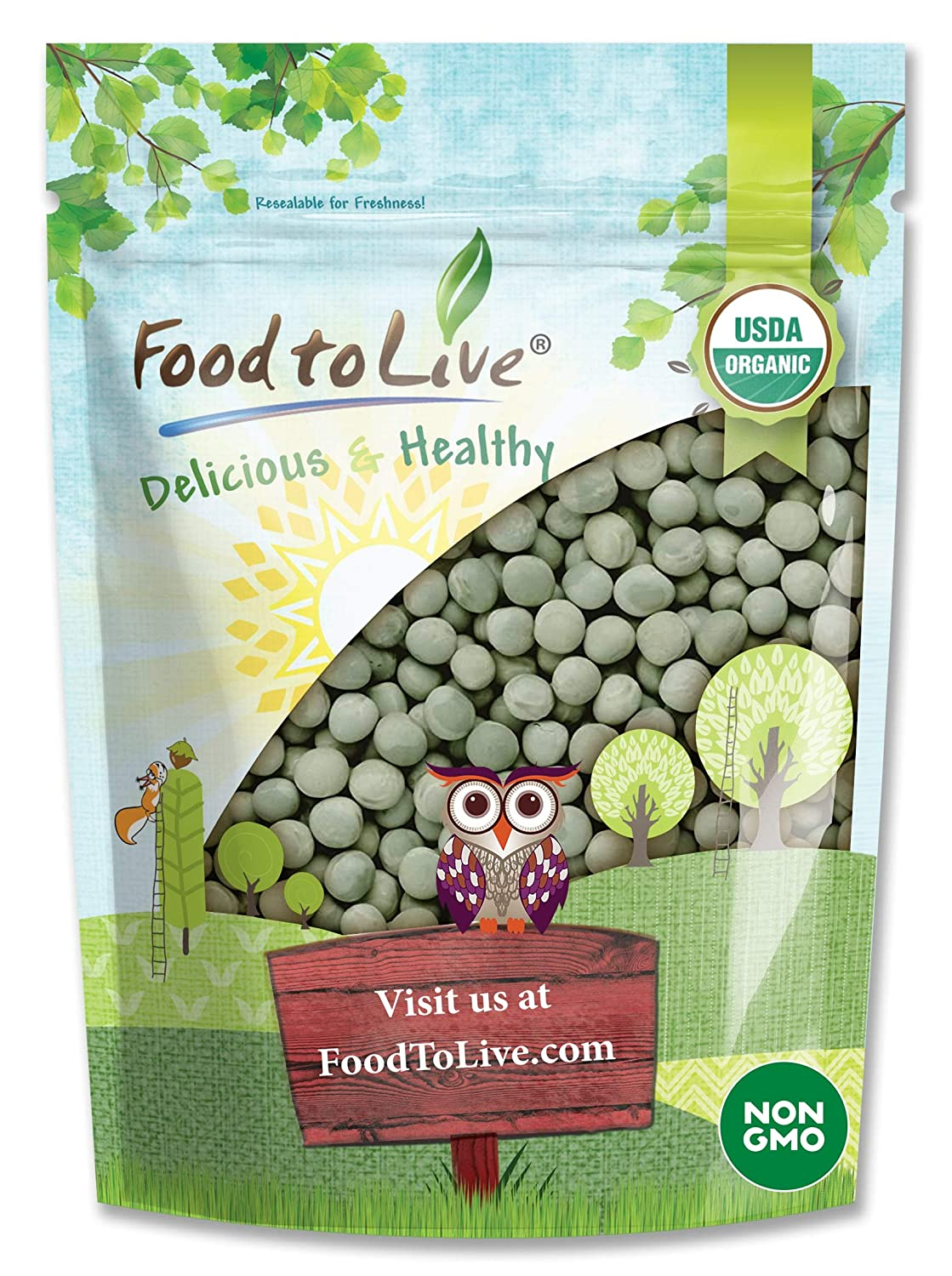 Organic Green Peas (Sproutable, Kosher, Non-GMO, Raw, Dried) by Food to Live — 4 Pounds