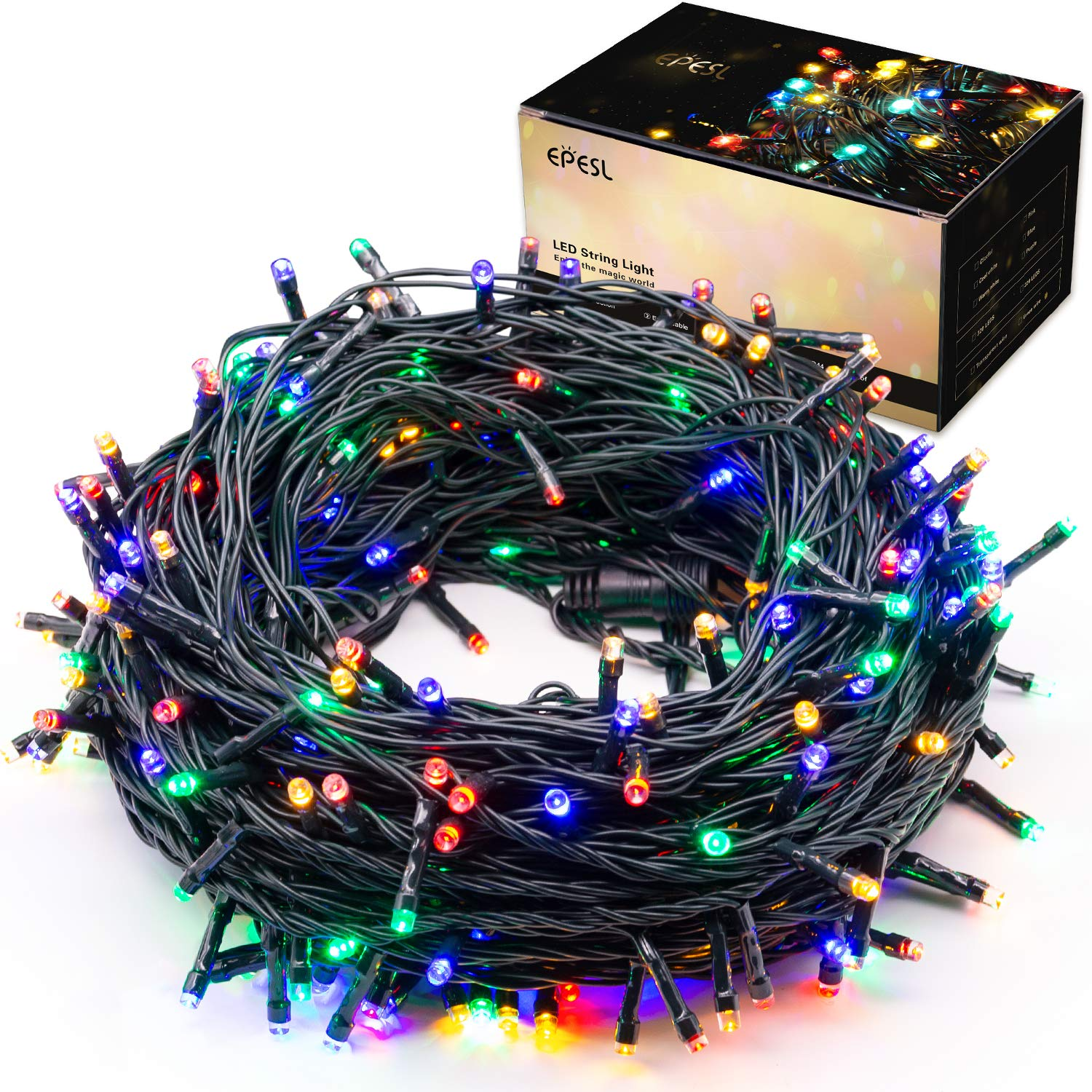 EPESL Indoor/Outdoor String Lights 22m/72ft 220 LEDs 8 Modes Memory Function End-to-End Extendable Plug in Waterproof Fairy Lights for Christmas/Thanksgiving Day/Halloween/Wedding/Patio - Colorful
