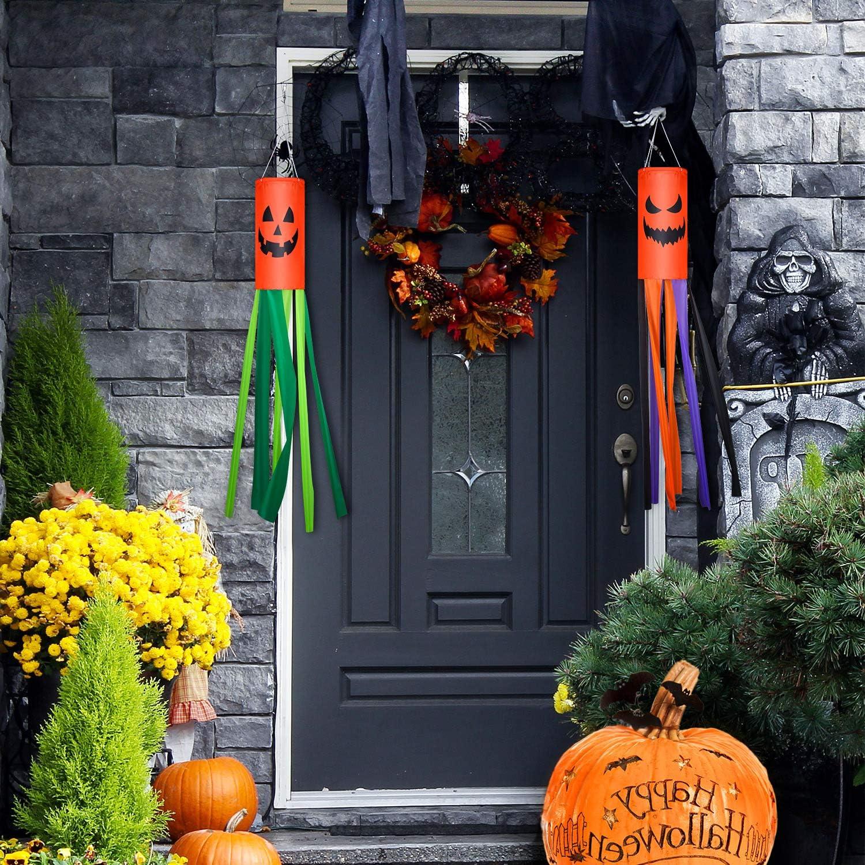 2 Pieces Halloween Windsocks Flag Windsock Garden Windsock Halloween Hanging Decorations for Lawn Garden Party Pumpkin