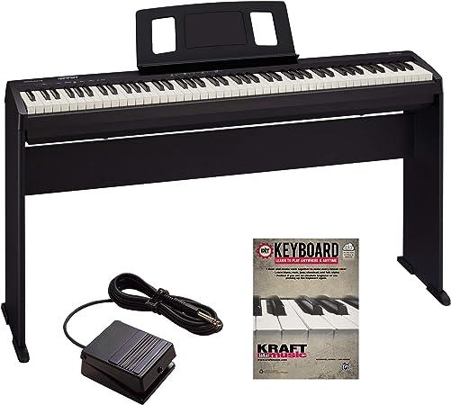 Roland FP-10 Piano digital con soporte de piano Roland KSCFP10BK y libro de lecciones