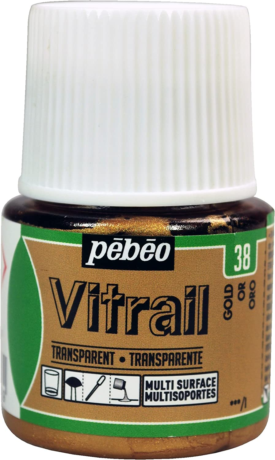 Pebeo Vitrail, Stained Glass Effect Paint, 45 ml Bottle - Gold