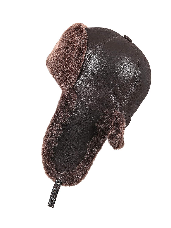 Zavelio Women's Shearling Sheepskin 6 Panel Russian Ushanka Fur Hat w-6USH-D12