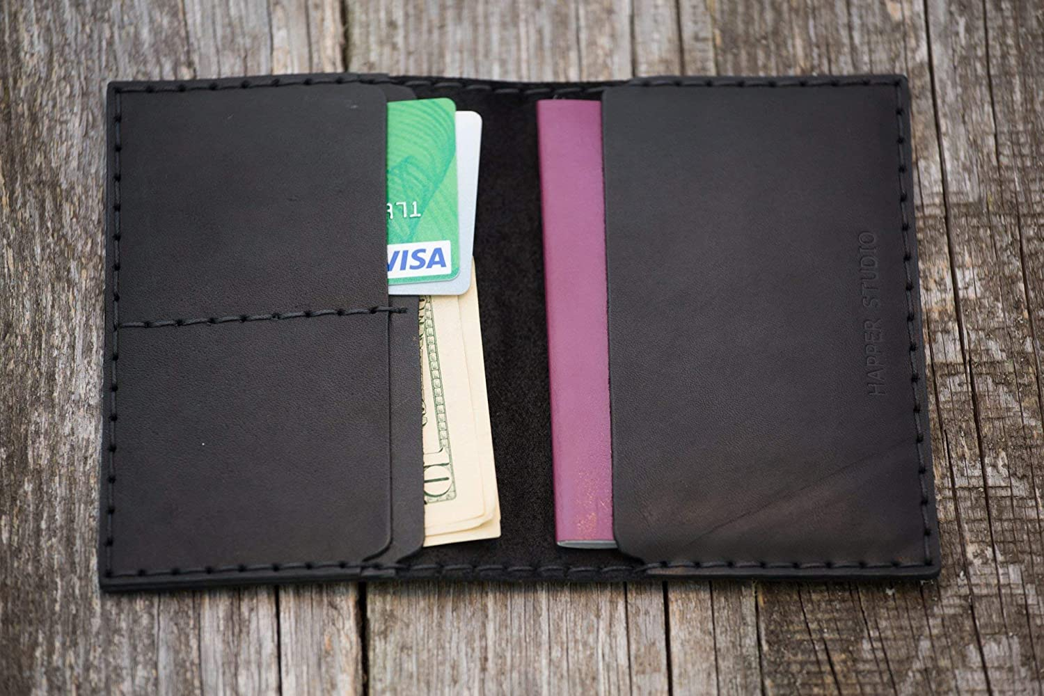 Personalized Passport black leather wallet, travel documents case holder with pockets for cards and cash, Monogram your Name