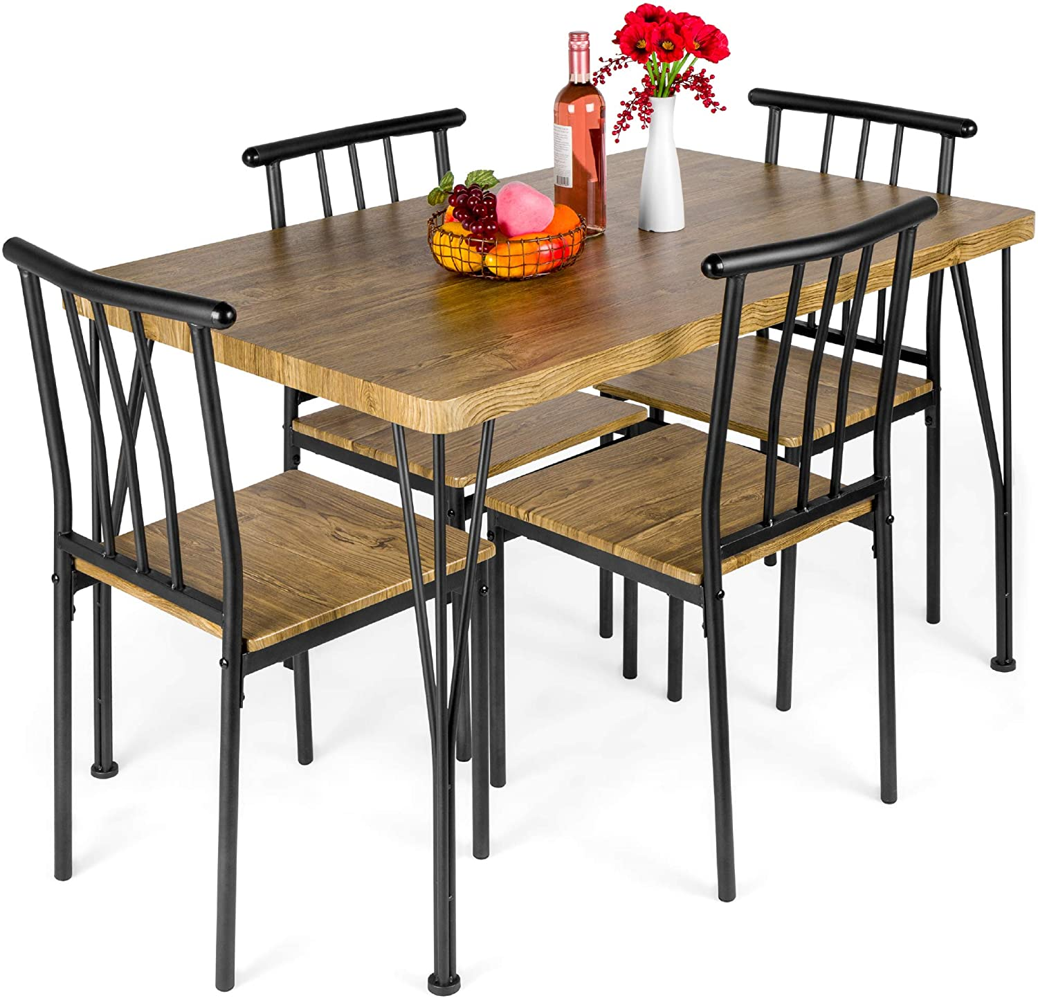 Amazon Com Best Choice Products 5 Piece Metal And Wood Indoor Modern Rectangular Dining Table Furniture Set For Kitchen Dining Room Dinette Breakfast Nook W 4 Chairs Brown Table Chair Sets