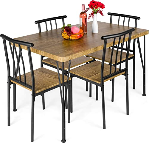 Best Choice Products 5-Piece Metal and Wood Indoor Modern Rectangular Dining Table Furniture Set