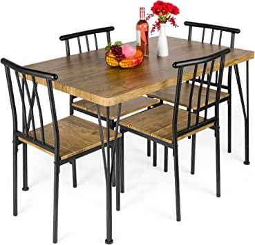 Amazon Com Best Choice Products 5 Piece Metal And Wood Indoor Modern Rectangular Dining Table Furniture Set For Kitchen Dining Room Dinette Breakfast Nook W 4 Chairs Brown Kitchen Dining