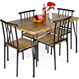Best Choice Products 5-Piece Metal and Wood Indoor Modern Rectangular Dining Table Furniture Set for Kitchen, Dining Room, Di