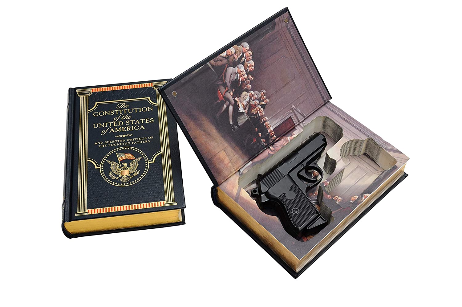 Concealed Gun Storage for Compact Handguns - US Constitution Hollow Real Book Gun Safe - Gift for Gun Owner - Home Car Carry Defense