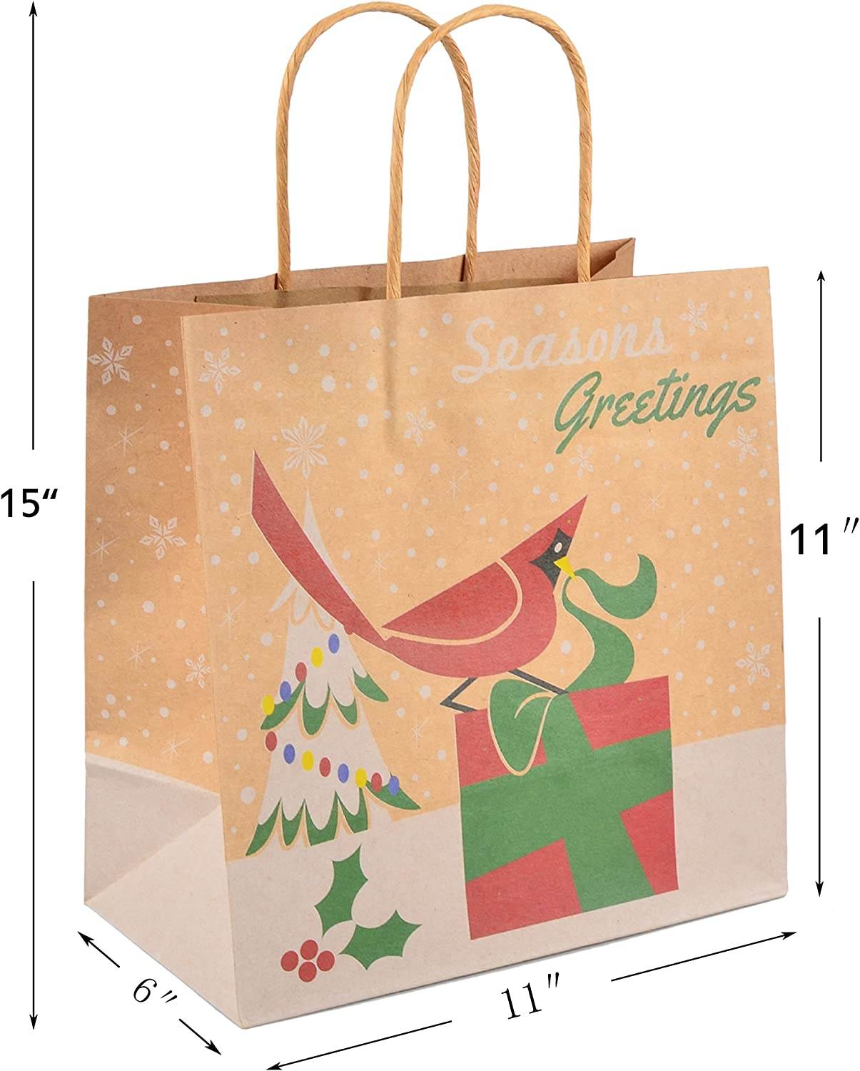 JOYIN 24 Christmas Kraft Gift Bags with Assorted Christmas Prints for Kraft Bags School Classrooms and Party Favors by Joiedomi Christmas Goody Bags Xmas Gift Bags