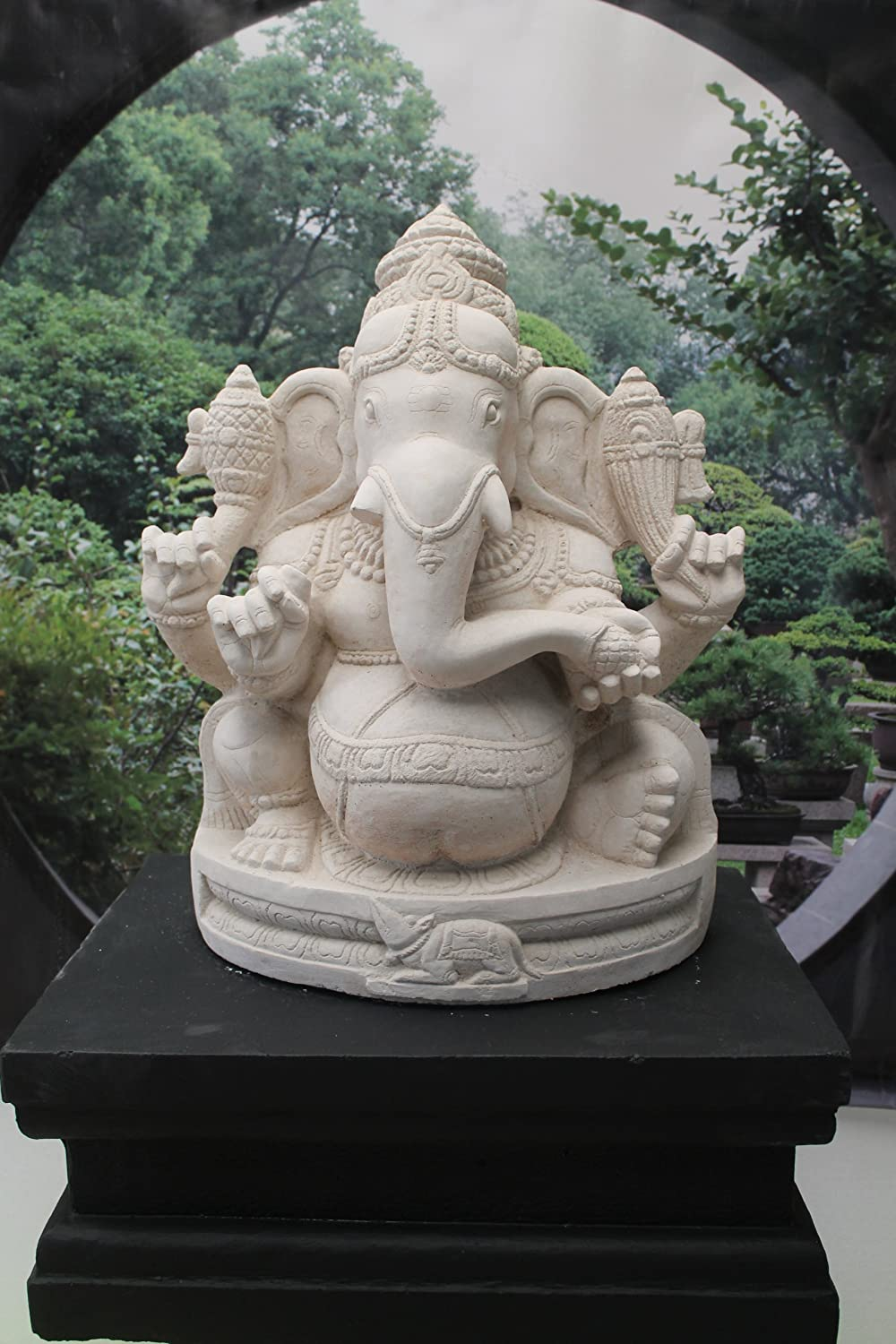 Awesome Ornate Ganesh Stone Garden Ornament Statue And Plinth: Amazon.co.uk: Garden  U0026 Outdoors